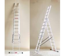 Trodijelne višenamjenske aluminijske merdevine / ljestve sa 3x13 stepenica 38-13
