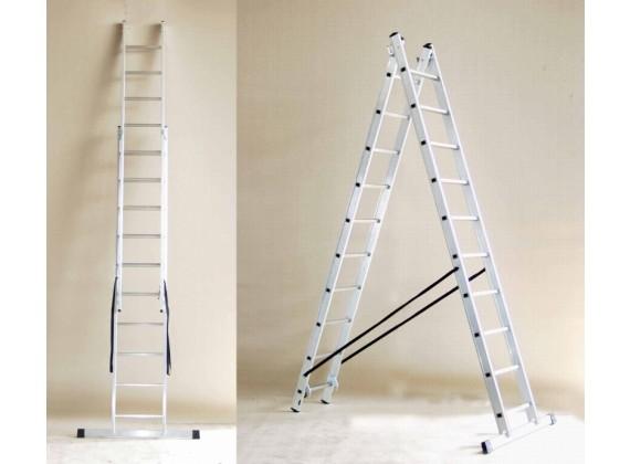 Aluminijska dvodijelna višenamjenska ljestva 40 - 2x9 stepenica