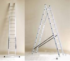 Aluminijska dvodijelna višenamjenska ljestva 40 - 2x8 stepenica