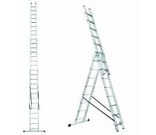 Trodijelne višenamjenske aluminijske merdevine / ljestve sa 3x9 stepenica 38-09