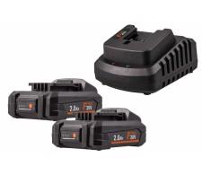 Set 2x baterija 2Ah i brzi punjač FERMPOW2x2